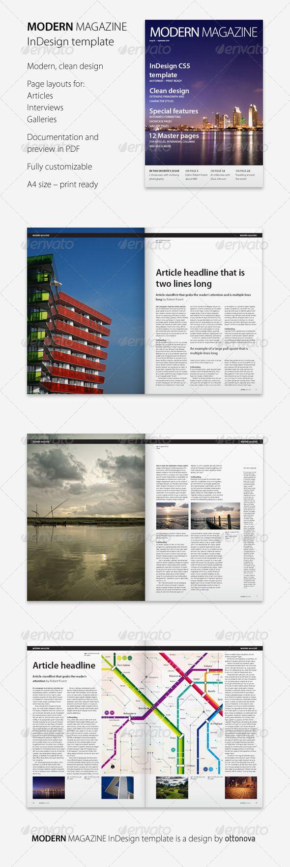 Modern Magazine InDesign template | Indesign templates, Magazines ...