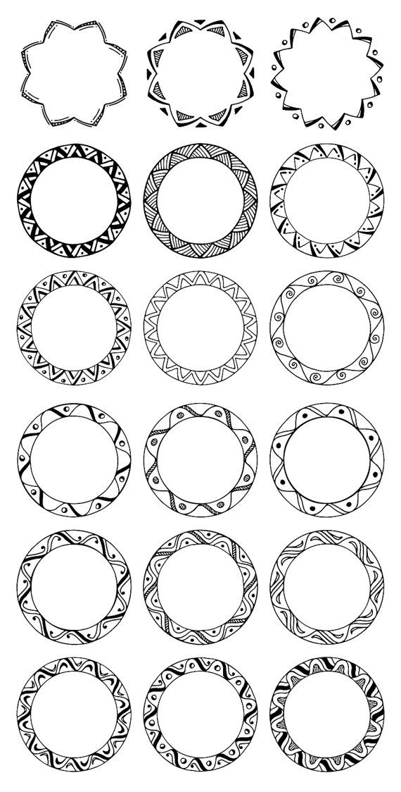 36 Hand Drawn Decorative Round Frames Circle Borders Tribal Etsy Mandala Art Lesson Mandala Design Art How To Draw Hands
