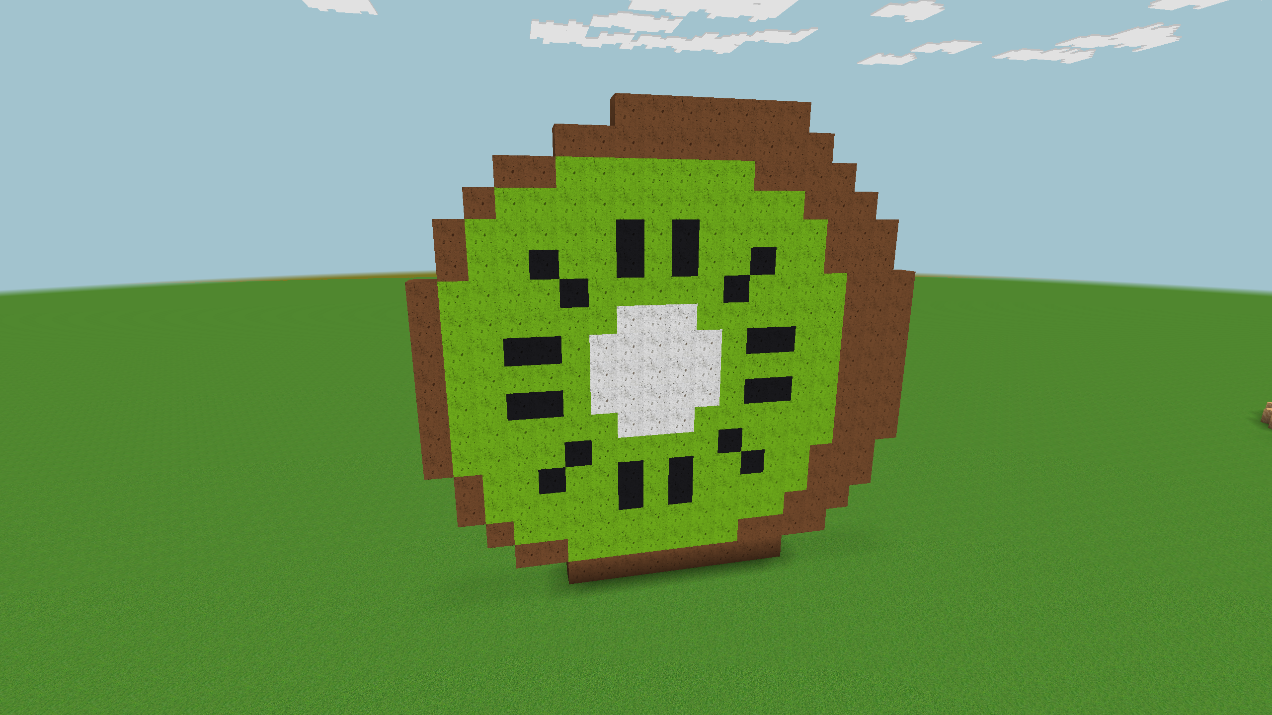 How To Make Pixel Art In Minecraft Bedrock Build A Big Kiwi For Summer Days In Realmcraft Minecraft Clone In 2020 Game Art Pixel Art Minecraft