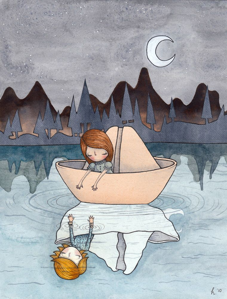 Come With Me - A4 print - paper boat boy girl reflections water lake whimsy dreamy blue stars moon crescent ripple forest silhouette love by Hannakin on Etsy https://www.etsy.com/listing/85167472/come-with-me-a4-print-paper-boat-boy