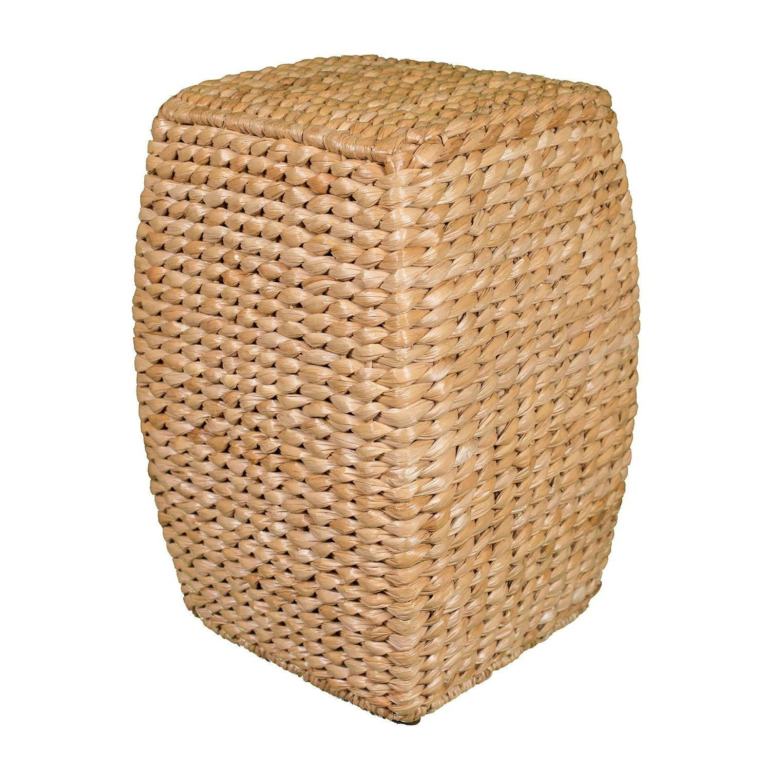 Birdrock Home Honey Seagrass Rattan 21 Inch Accent Stool Made Of