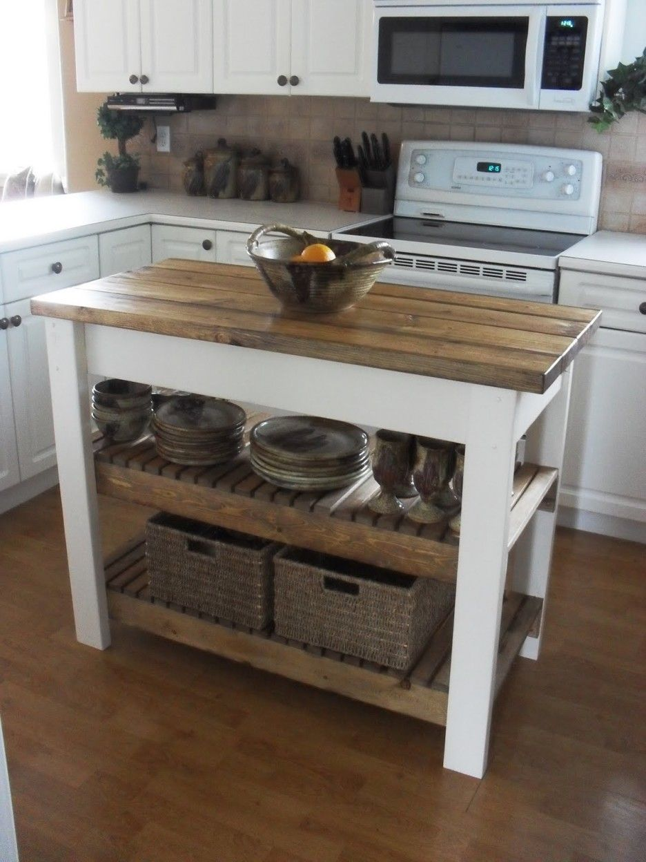 Furniture Rustic White Stained Wodoen Based Kitchen Table With Butcher Block Top And Double Open Shelves Added Rattan Woven Basket Marvelo With Images Kitchen Island Plans