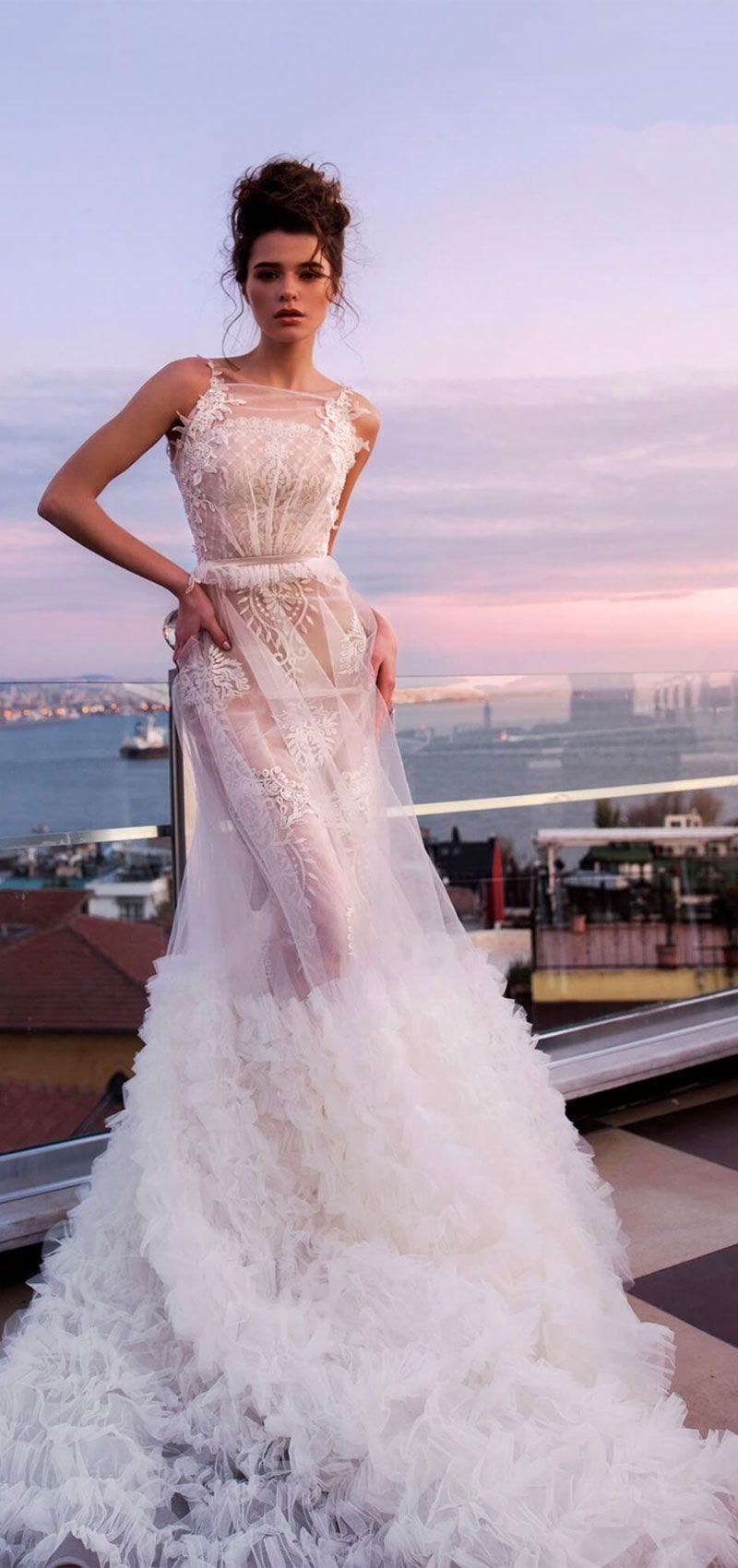 Sleeveless sheath wedding dress tulle ruffled skirt cover #weddingdress #weddinggown #wedding