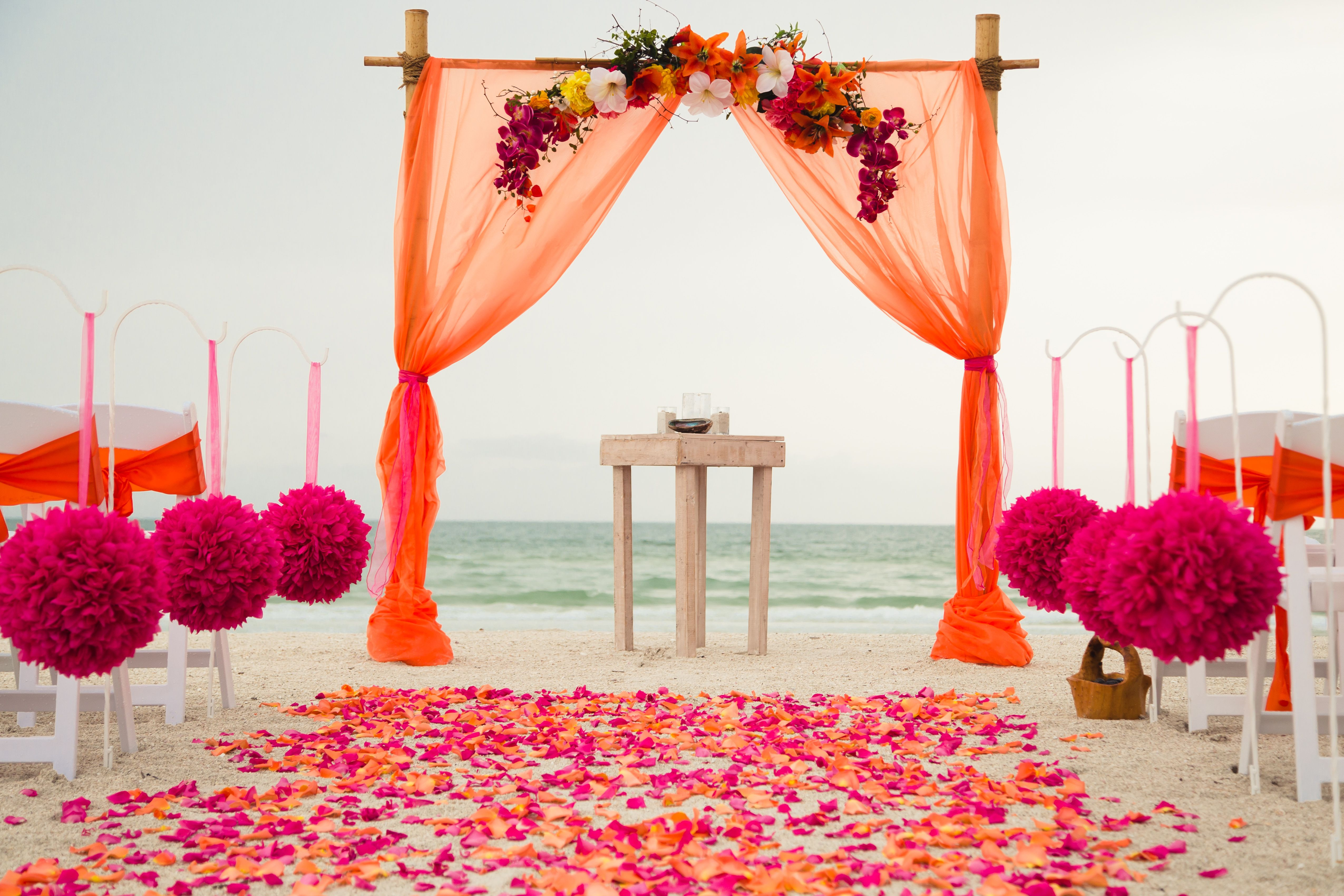 Orange And Hot Pink Wedding Beach Wedding Arbor Beach Wedding Orange Orange And Pink Wedding Beach Wedding Arbors
