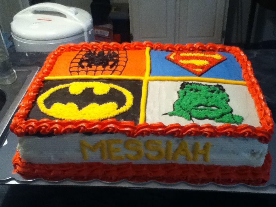 Incredible Hulk Spider Man Super Man and Batman 12 sheet cake