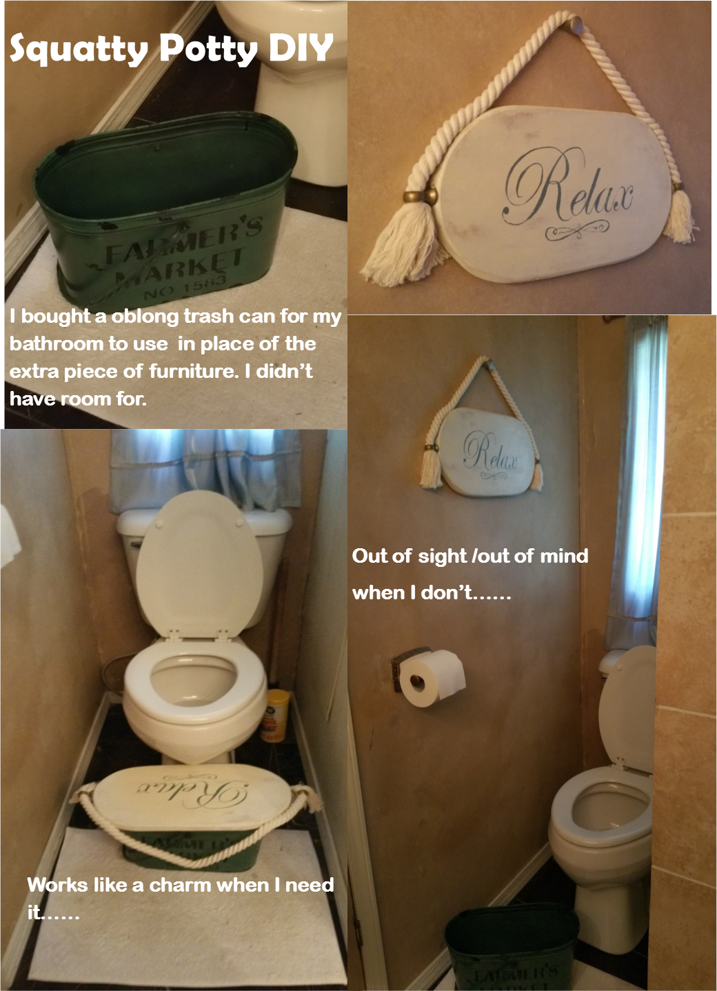 f3ac7e2cf08 DIY Squatty Potty! I didn t have room for another piece of  furniture equipment in my small space. so I came up with this alternative.