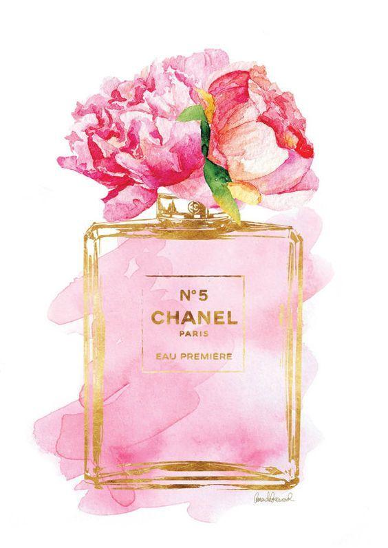 Chanel No5 cartel A3 Pink Peony acuarela oro efecto por ...