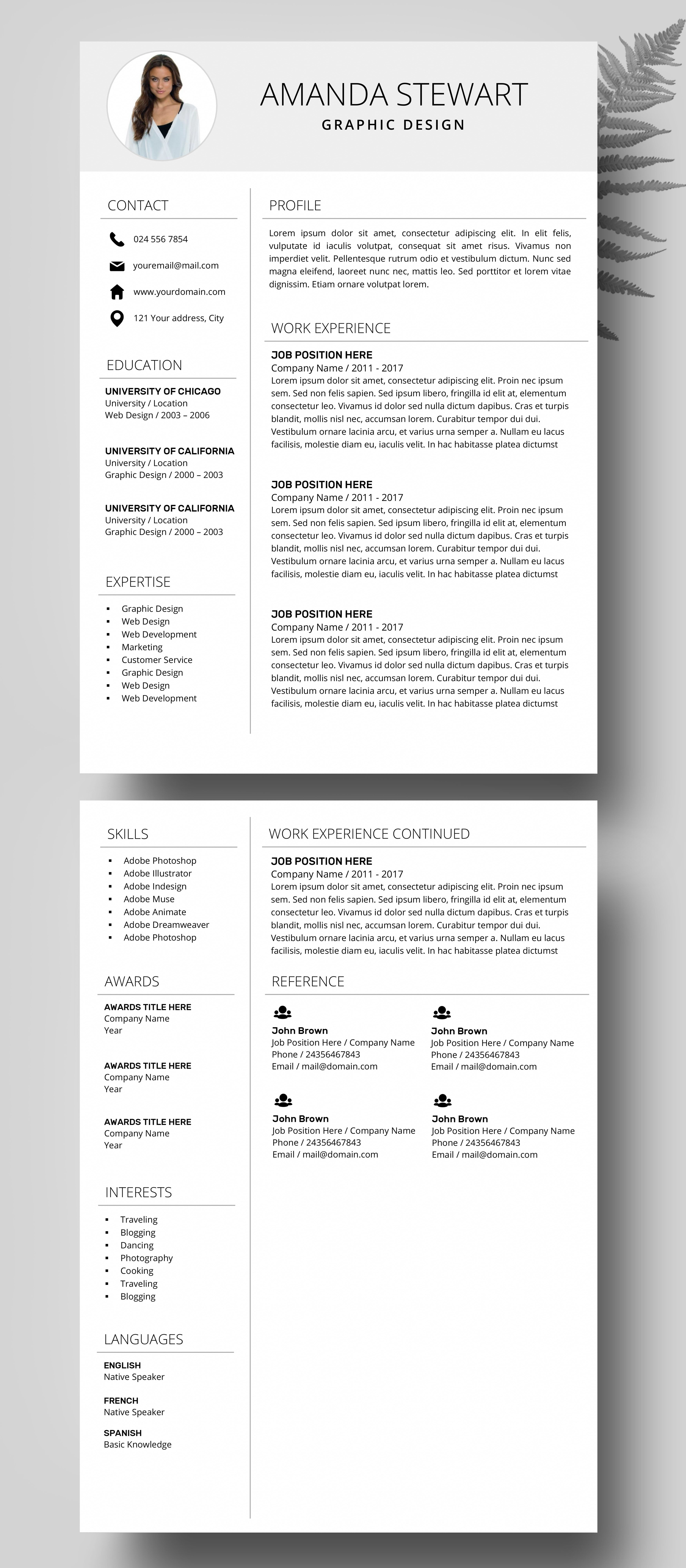 Resume Template Ms Word  Professional Cv Template  Creative