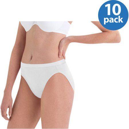 2621b1e9b584 Hanes Women's Cotton No Ride Up Hi-Cut Panties 10-Pack, Size: 7, White