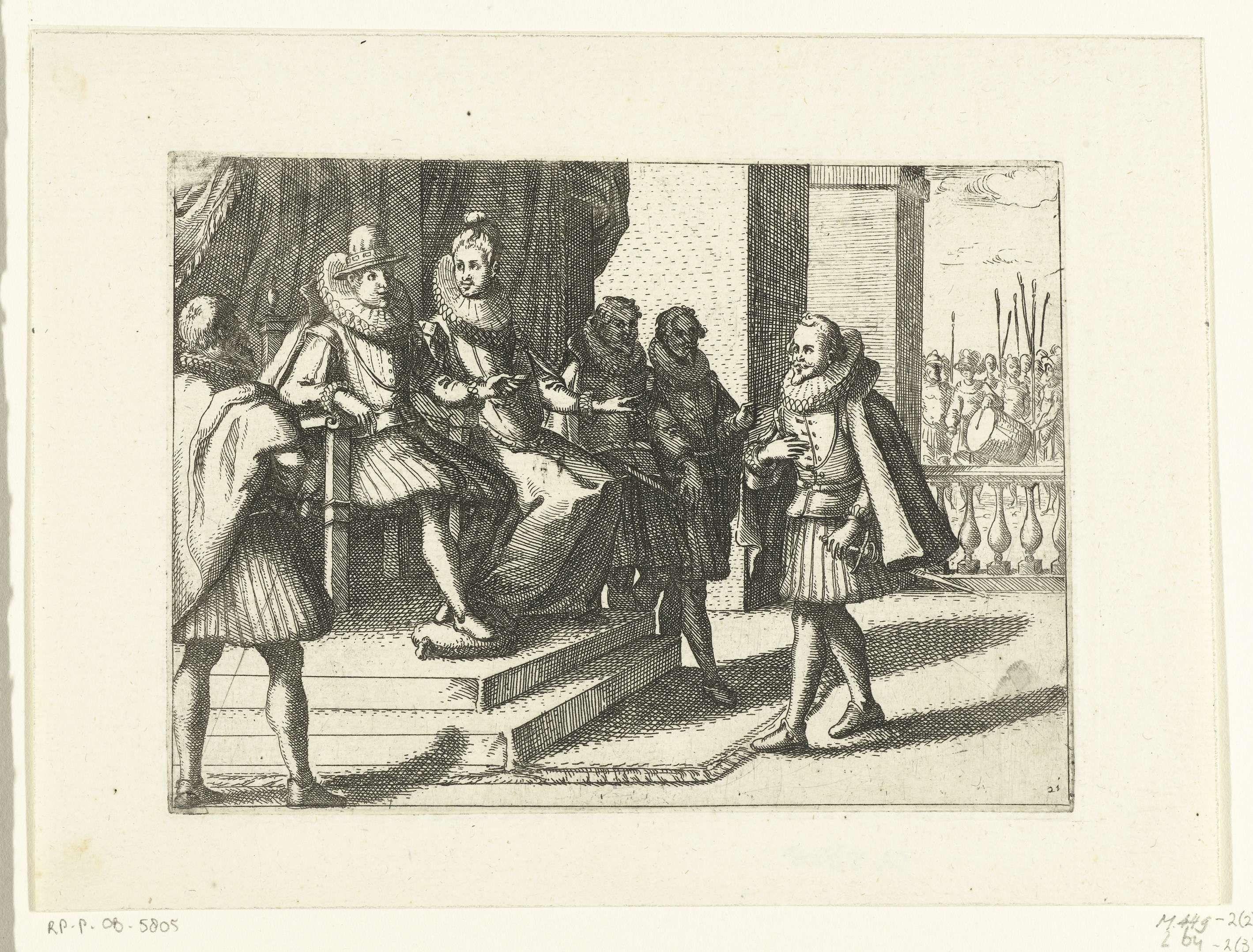 Jacques Callot   Filips III geeft op advies van Margaretha van Oostenrijk militaire hulp aan Hongarije tegen de Turken, Jacques Callot, 1612   Filips III en Margaretha van Oostenrijk spreken, gezeten op een verhoging, met een heer. Rechts op de achtergrond zijn soldaten zichtbaar.