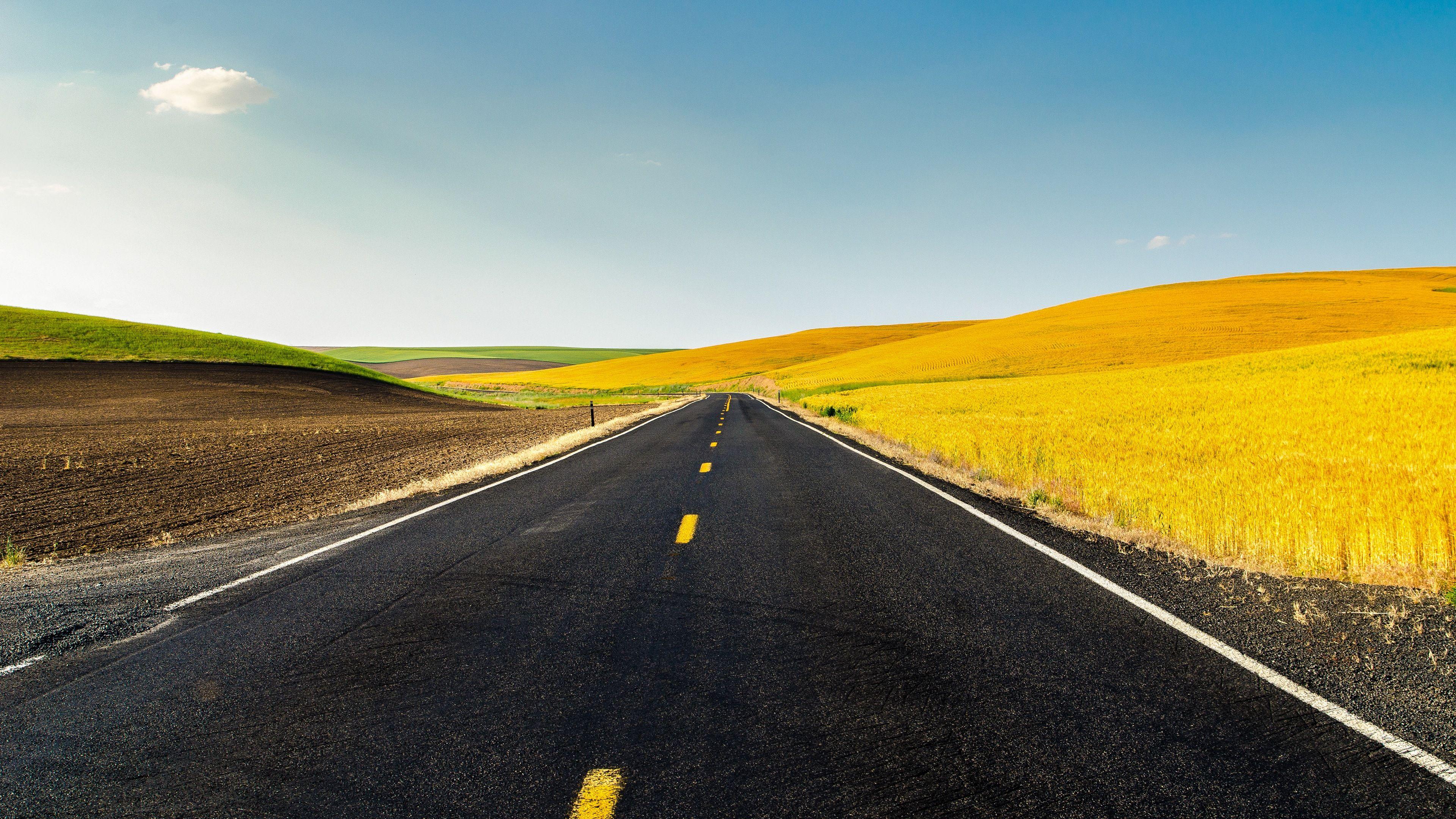 Landscape 4K Ultra HD Wallpaper | Road Through Farmland 4K ...