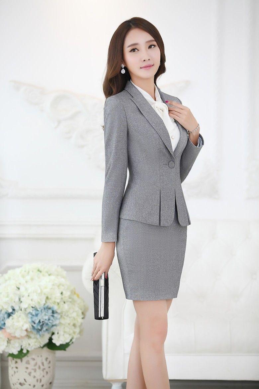 196a3616ffb6 Formal negro Blazer mujeres trajes de negocios con falda y superior  establece elegante para mujer trajes