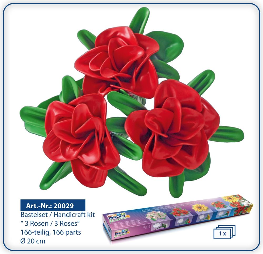 Flowertex by Karaloon: handicraft kit for wonderful red roses made with natural rubber latex balloons. Available by Amazon.de