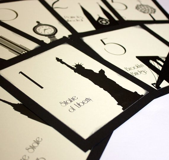 NYC Table Number Wedding Decor Sign New York Icons Landmarks Silhouette City Manhattan Single Sample on Etsy, $2.65