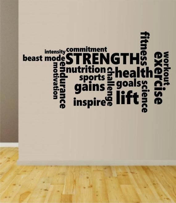Fitness Words Quote Decal Sticker Wall Vinyl Art Home Room Decor Inspirational Motivational Gym Work -   19 fitness Room mall ideas