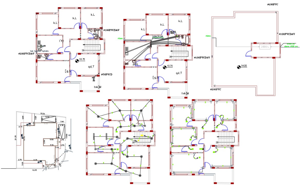 House Electrical And Plumbing Layout Plan Drawing Cadbull In 2020 Home Design Floor Plans Electrical Layout Floor Plan Design