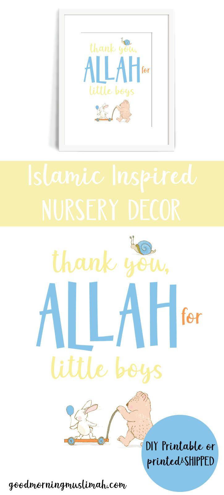 Nursery Wall Art, Baby Decor *Physical*. Thank you, Allah for Little ...