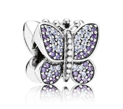 dc3a379cc Pandora Purple Sparkling Butterfly Charm 791257ACZ at John Greed Jewellery