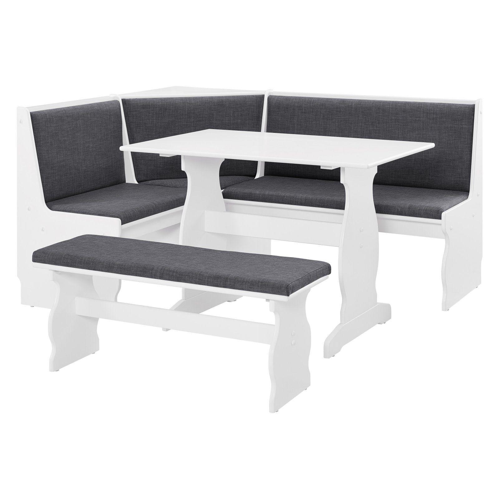 Linon Sasha Nook Charcoal And White Includes Corner Unit Table And Bench Walmart Com Nook Dining Set Breakfast Nook Dining Set Dining Nook