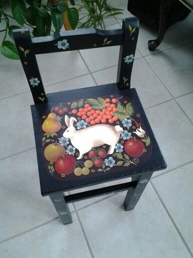 Painted Folk Art Chair With Rabbit And Fruit. Painted By Me, Design By Mary  Jane Todd.