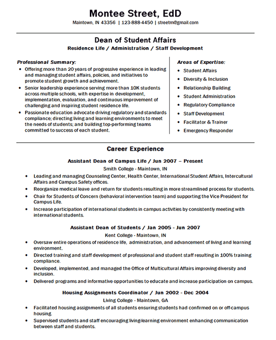 University Dean Dean Of Students Teacher Resume Examples Student Life