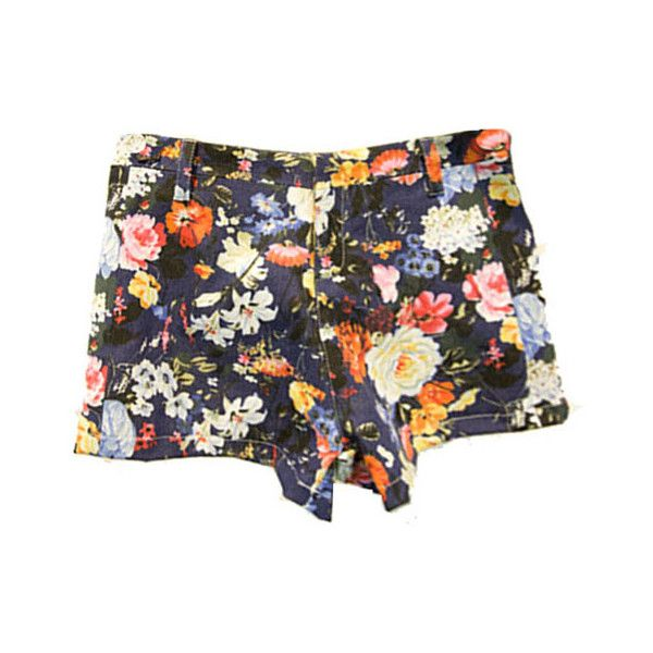 Retro Skinny Denim Shorts with Flower Print Throughout ($54) ❤ liked on Polyvore featuring shorts, mid rise denim shorts, patterned shorts, flower print shorts, mid rise shorts and zipper shorts