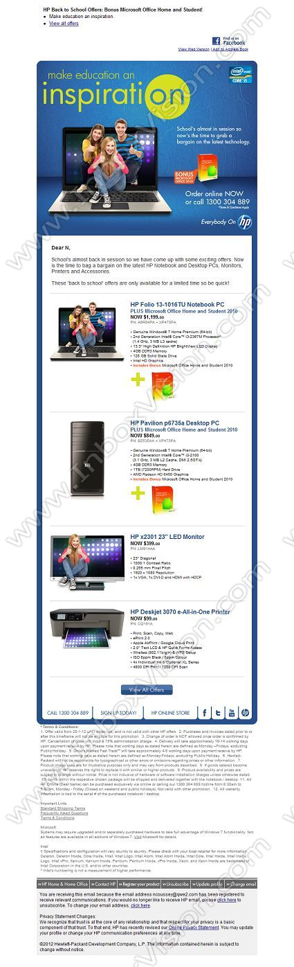 Company HP (US) Subject HP Back to School Offers Bonus - office newsletter