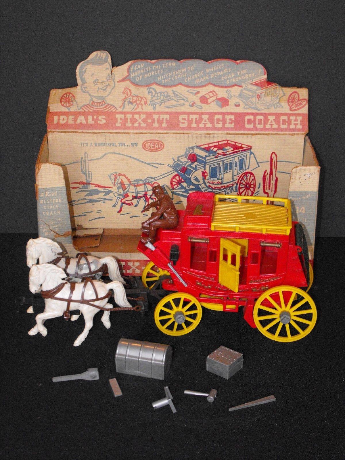 Vintage 1950's Davy Crockett Fess Parker Ideal Fix It Stage Coach Western Horse | eBay