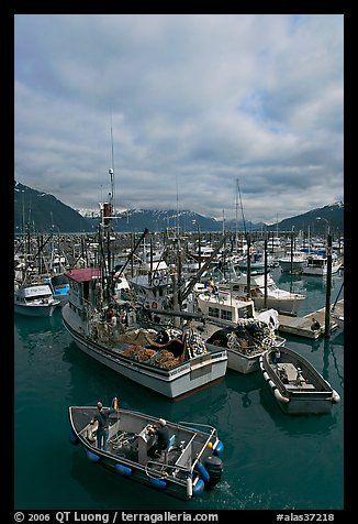 Fishing boats in harbor. Whittier, Alaska, USA