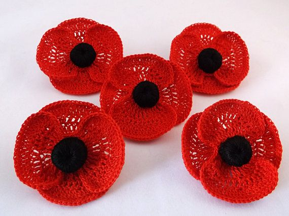 Beautiful Remembrance Day Poppy Brooch, poppy brooch, crochet poppy ...