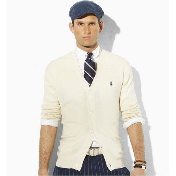 Ralph Lauren Men Cardigan Cream V-neck Mesh Sweaters