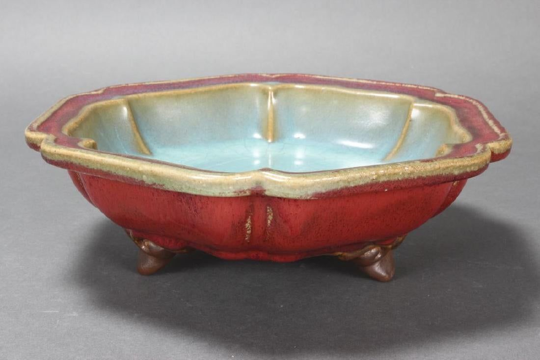 Chinese Jun Glazed Footed Bowl Of Flower Head Form With Lavender Interior Surrounded By Sang De Boeuf Glazed Exterior Chinese Ceramics Bowl Chinese Pottery