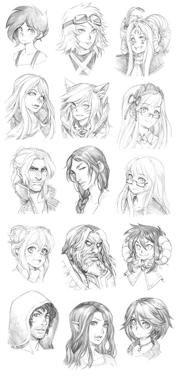 150827 - Headshot Commissions Sketch Dump 1 by Runshin on DeviantArt ...