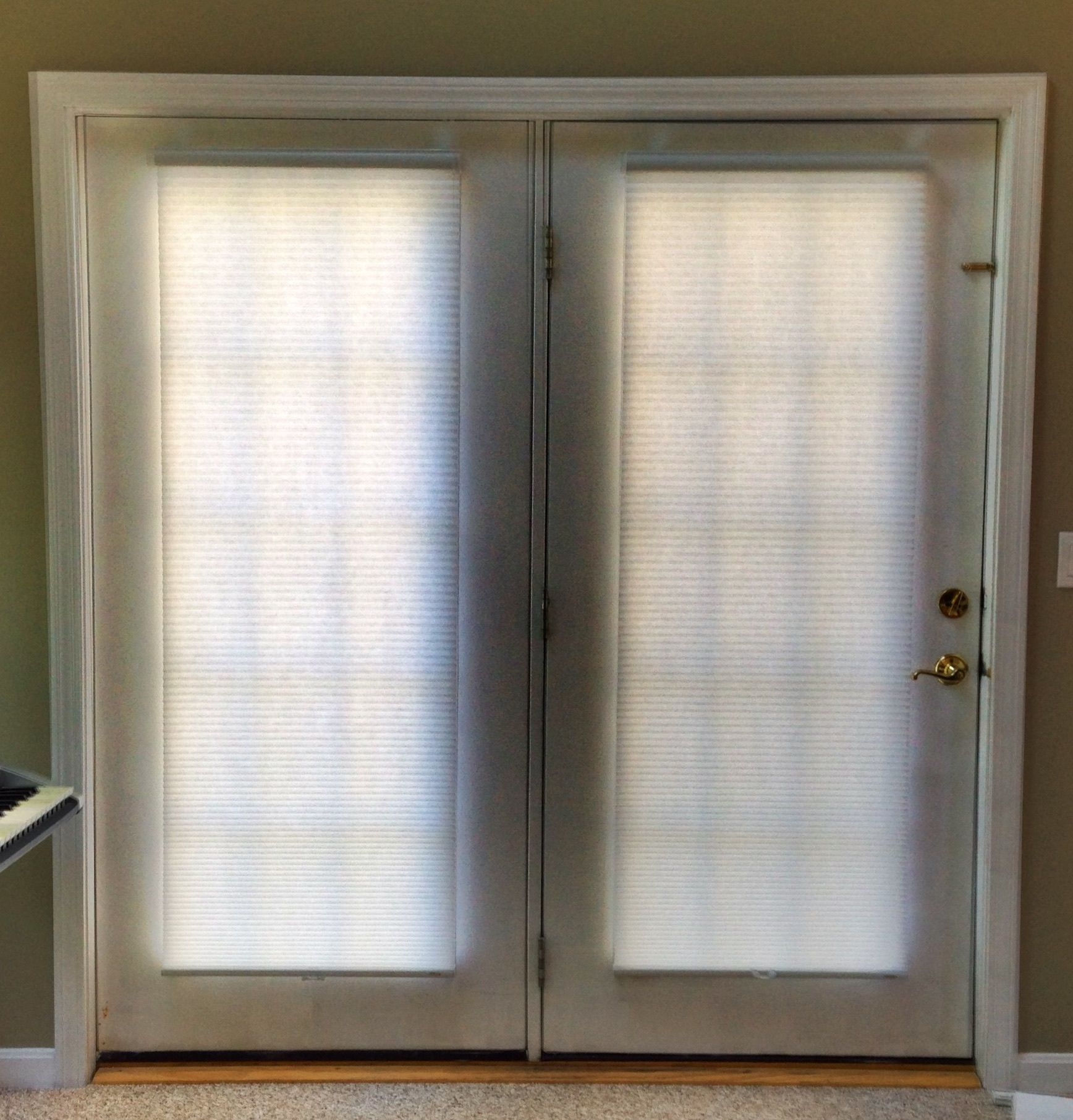 Cordless cellular shades for french doors living spaces ideas
