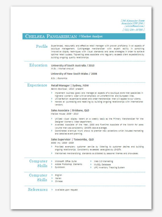 Modern Microsoft Word Resume Template Chelsea By Inkpower, $12.00