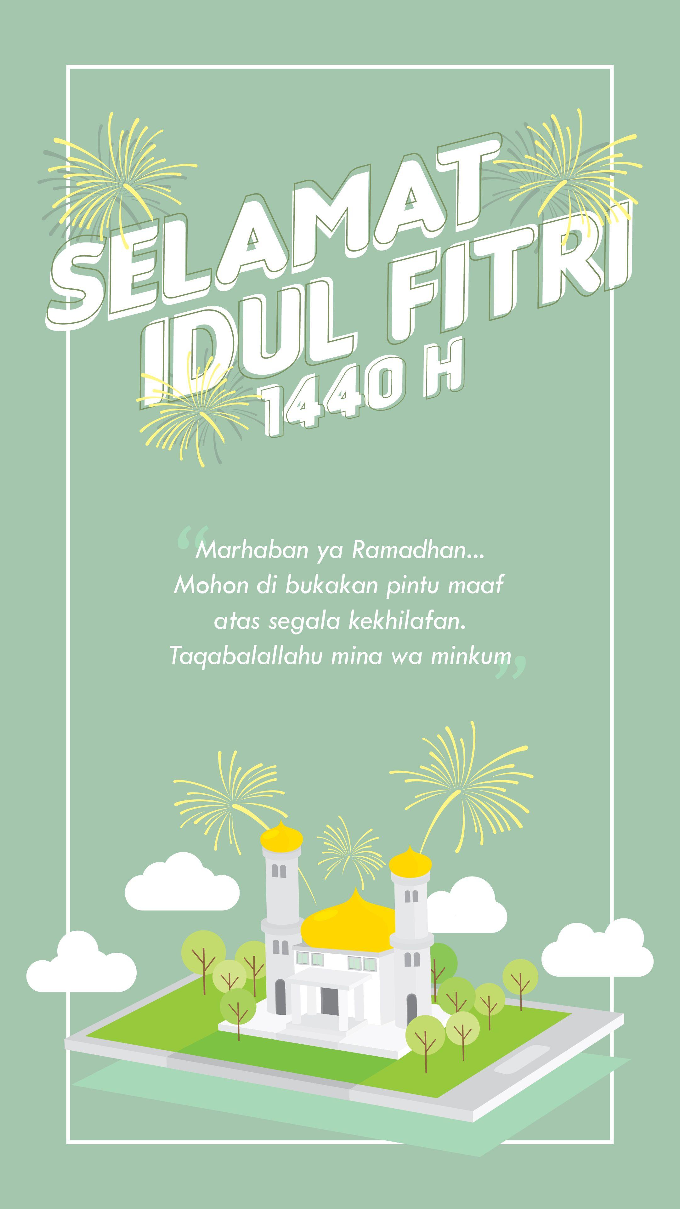 Ucapan Idul fitri 1440   Desain poster, Desain, Gambar lucu