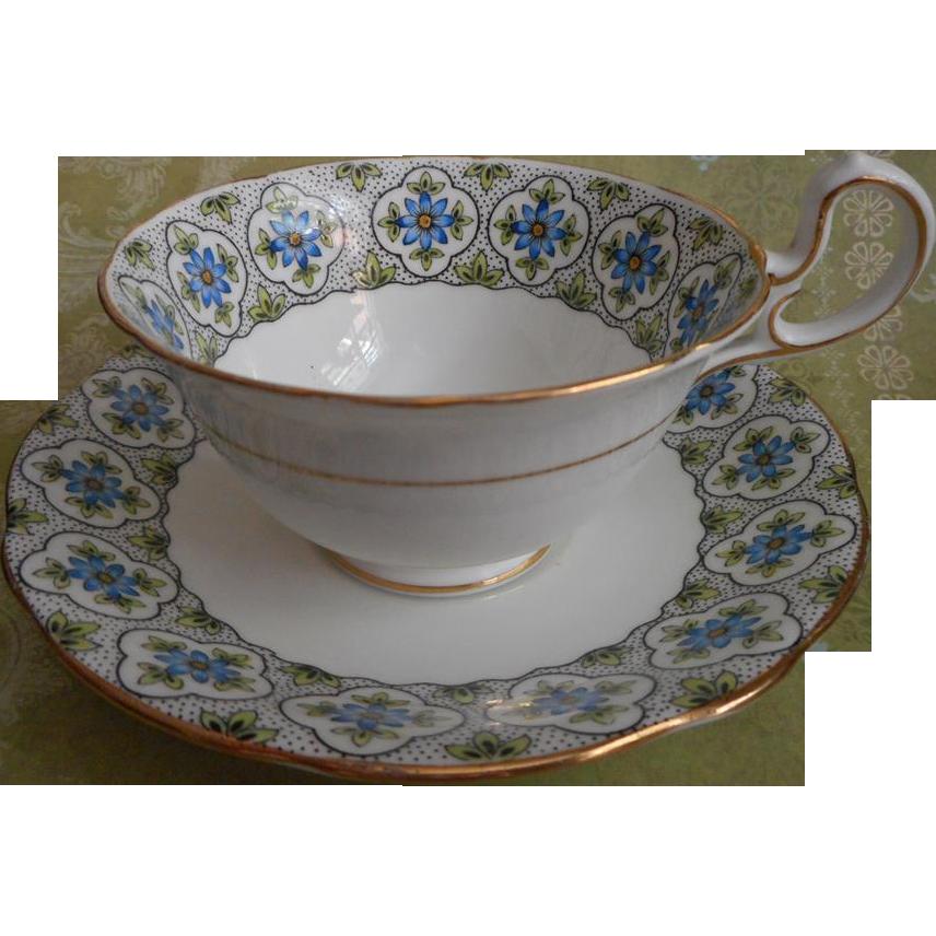 porc__Aynsley English Bone China Cup Saucer Vintage 1920s Blue White
