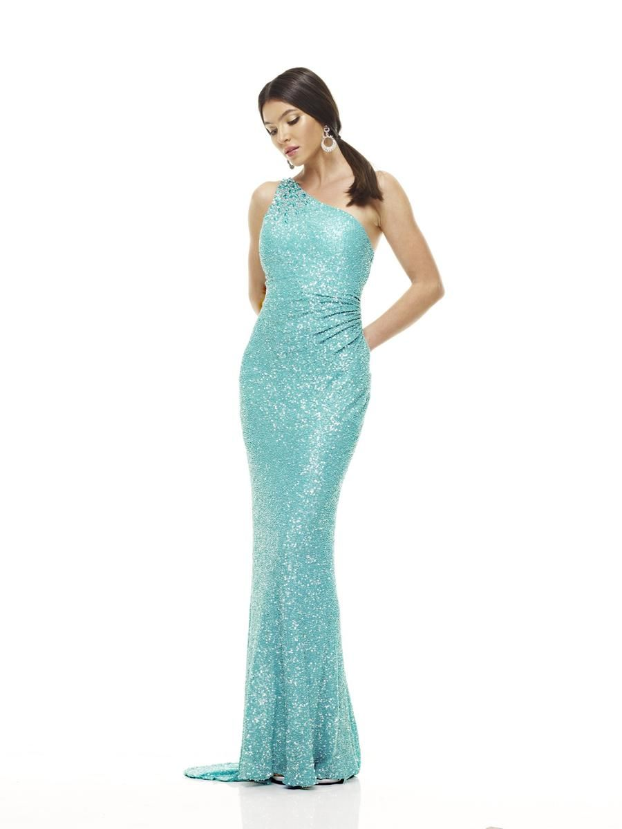 SCALA P4043 Sequin One Shoulder Gown Aqua $310 FREE WORLD DELIVERY ...