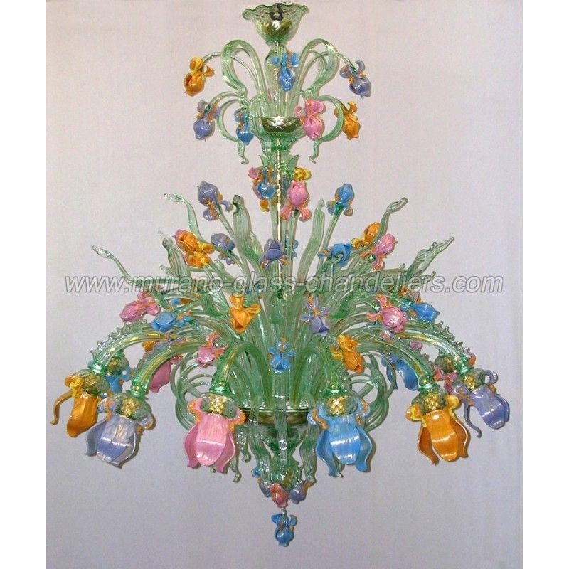 Verde 12 lights Murano glass chandelier - Murano glass chandeliers
