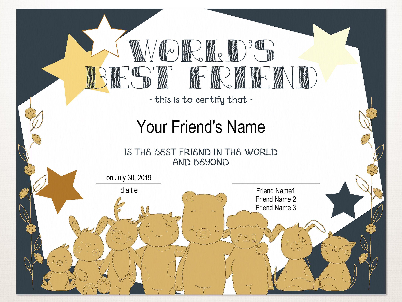 Printable World S Best Friend Certificate Template Etsy Friend Birthday Gifts Gift Certificate Template Certificate Templates