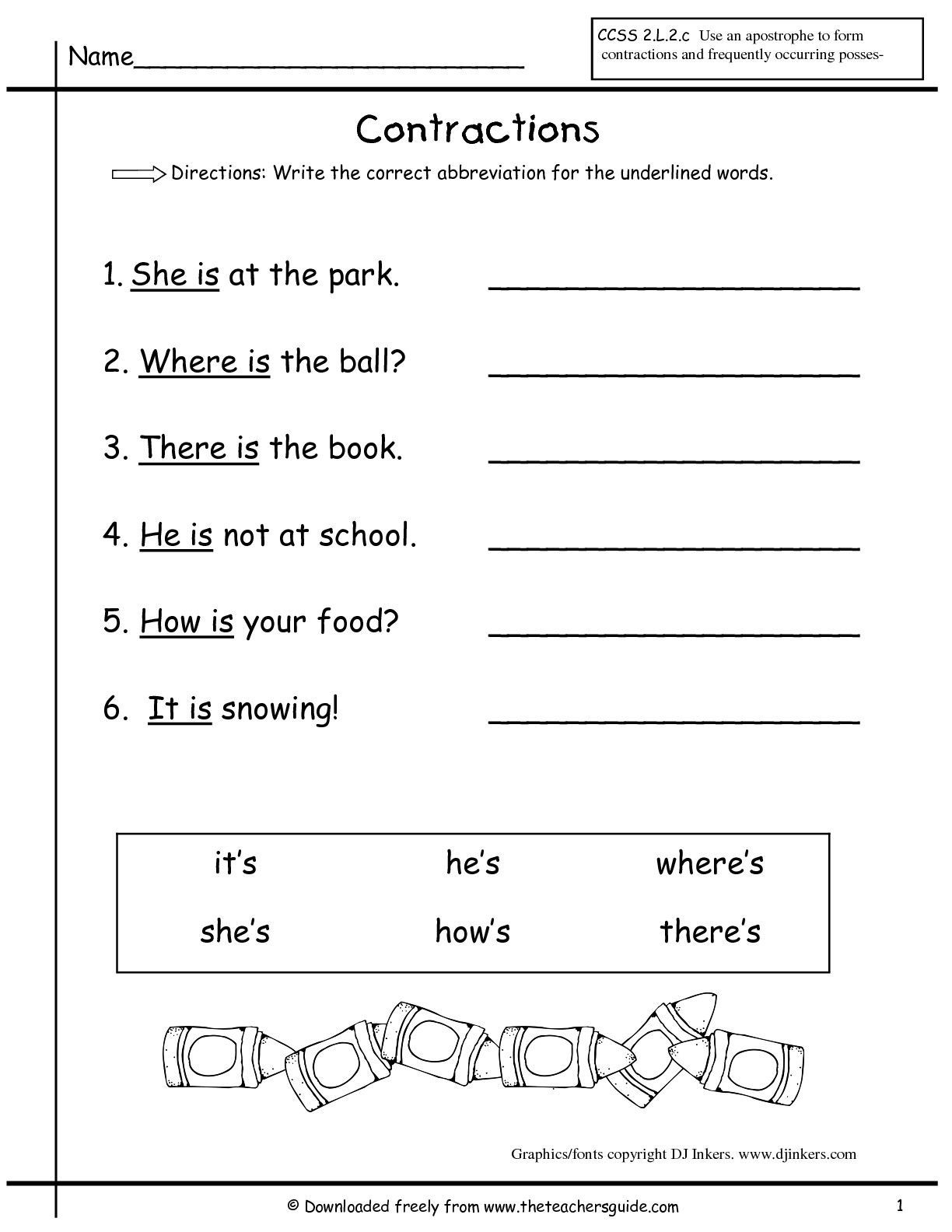 Contraction Worksheets 1st Grade Inglaªs Inglaªs With Images