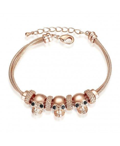 Skull Bracelet 18K Rose Gold Plated Women Charming Chain Bracelet Fashion Jewelry