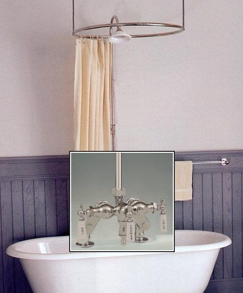 Clawfoot Tub Deckmount Round Shower Enclosure Combo W Small Spout