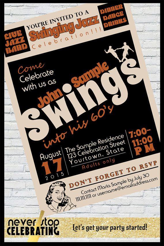 Swinging Jazz Themed Birthday Invitation 40th 50th 60th 70th