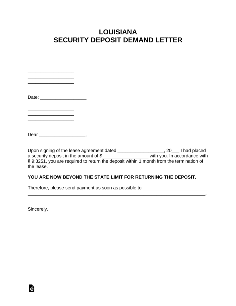 Free Louisiana Security Deposit Demand Letter Pdf Word Eforms Free Fillable Forms Lettering Being A Landlord Letter Form