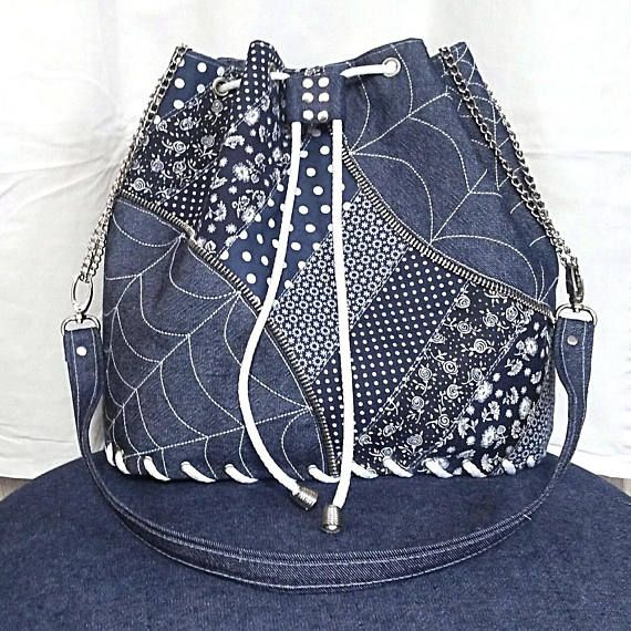 die handtasche ist der klassische jeans kombiniert mit baumwollstoffen mit einem modroplate muster gefertigt es ist komplett verstrkt durch rona - Jeans Mit Muster