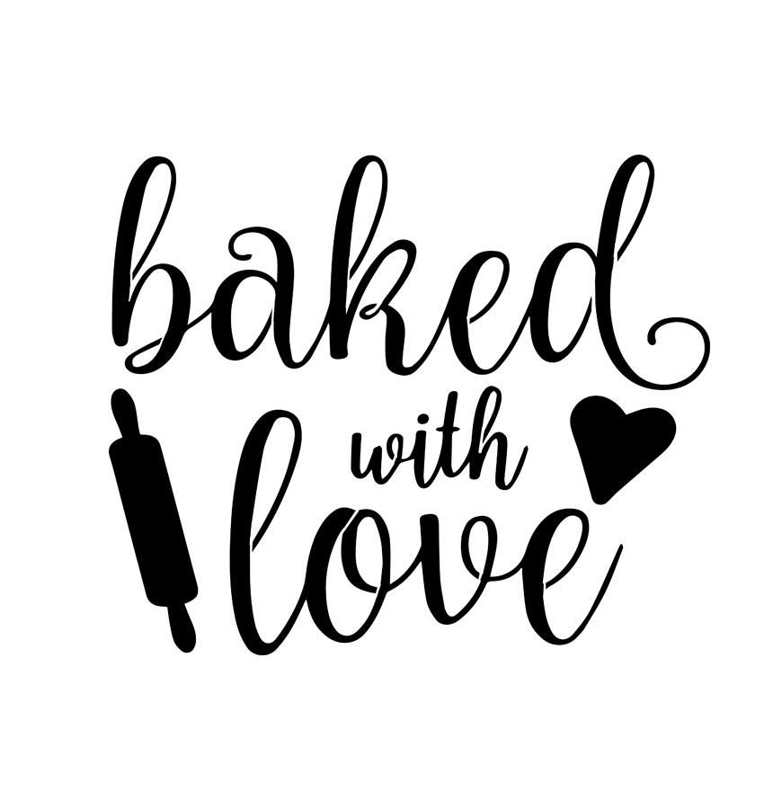 Download Baked With Love - 10 Mil Clear Mylar - Reusable Stencil ...
