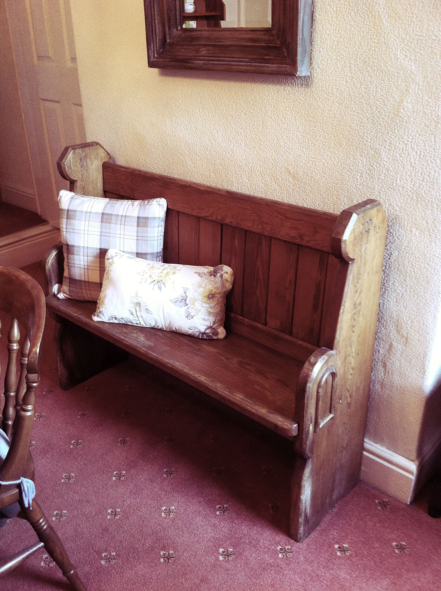 Church pew in our home