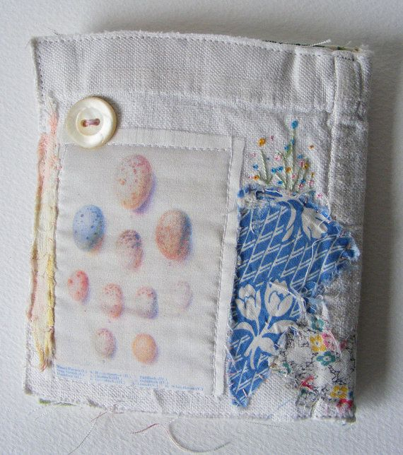 Handmade NEEDLECASE  celebrating texture and very old patchwork by hensteeth on etsy - back