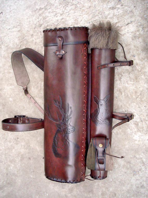 Multifunctional Tooled Leather Quiver and Bow by MadeOfLeather, $530.00
